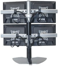 Quadruple Monitor Table Stand (Silver)