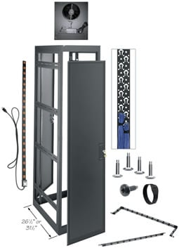 """44-Space, 77"""" H x 26"""" D Tall Welded Gangable Equipment Rack (A/V Configuration, without Side Panels)"""