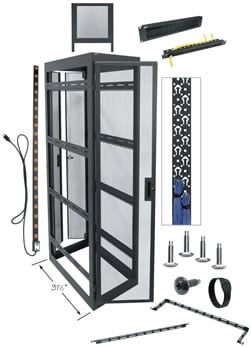 """44-Space 77"""" H x 31"""" D Equipment Rack For DVRs (with Side Panels)"""