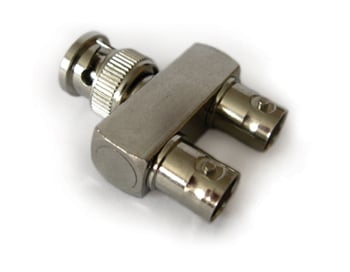 BNC (Male) to 2 BNC (Female) Y Adapter
