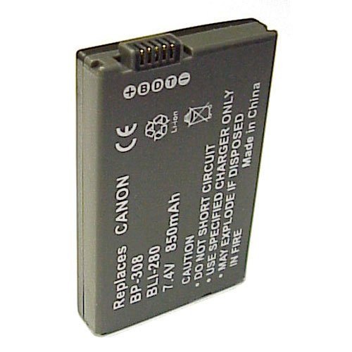 Battery for Canon BP308, LI-ION, 850mAh