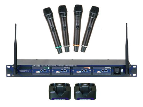 Wireless 4 Channel UHF Mic System