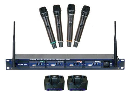 Wireless 4 Channel UHF Mic System
