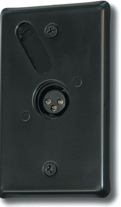 Wall Plate, Fixed Connector, XLR Female, Satin Black