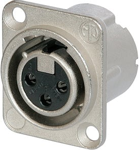 DLX Series 3-Pole XLR Female Receptacle with Solder Cups, Nickel Housing and Silver Contacts