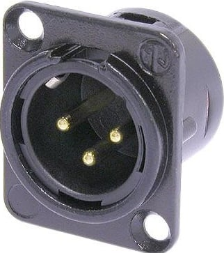 3-Pole Male XLR Chassis Connector in Black with Solder Cups, Metal Housing, and Gold Contacts