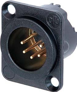 DLX Series 5-Pin XLR Male Panel Connector (Black Metal Housing, Gold Contacts)