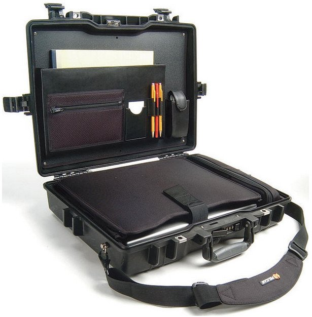 Deluxe Notebook Computer Case with Nylon Sleeve & Shoulder Strap