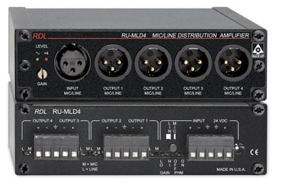 1x4 Microphone/Line Distribution Amplifier