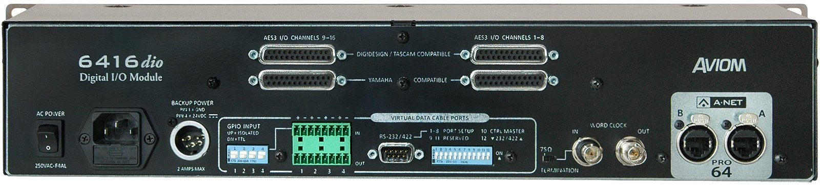 Pro64 Series 16-Channel AES3 Digital I/O Module with DB25 Connectors