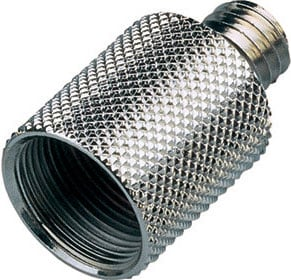 """Thread Adapter, 5/8""""F to 3/8""""M, Black (Silver shown)"""