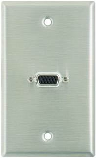 Plateworks Single-Gang Stainless Steel Wall Plate with 1x 15-Pin female VGA Connnector