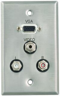 Plateworks Single-Gang Stainless Steel Engraved Wall Plate with 1x VGA, 3x RCA Connectors