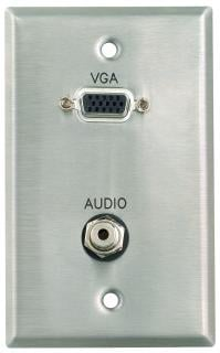"Pro Co WPE012 Plateworks Single-Gang Stainless Steel Engraved Wall Plate with 1x VGA Pass Thru & 1x 1/8"" Audio Connectors WPE012"