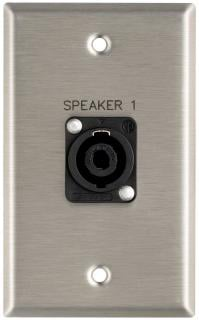 """Plateworks Single-Gang Stainless Steel Engraved Wall Plate with 1x Speakon NL4MP: """"Speaker 1"""""""