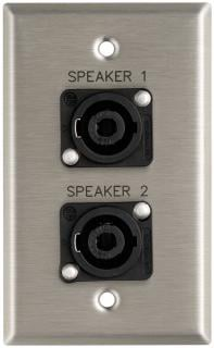 "Plateworks Single-Gang Stainless Steel Engraved Wall Plate with 2x Speakon NL4MPs: ""Speaker 1"" & ""Speaker 2"""