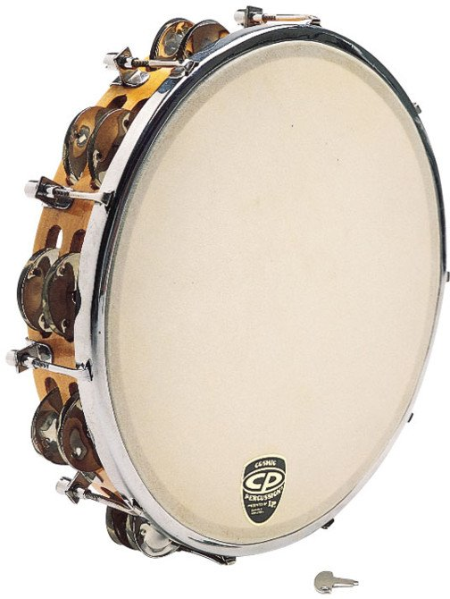 "10"" CP Tunable Wood Tambourine with Double Row of Jingles and Calfskin Head"