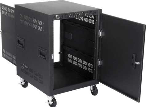 Mobile 14RU Equipment Rack with Casters and Side Handles