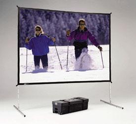 """83"""" x 144"""" Fast-Fold® Deluxe Truss Frame Da-Tex™ (Rear Projection) Screen with Heavy Duty Legs"""