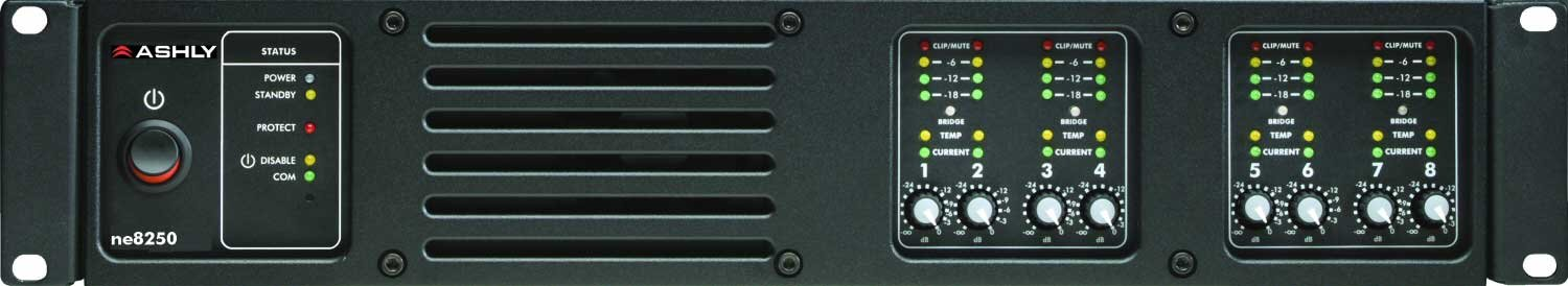 Ashly ne8250pe 8 Channel Network Power Amplifier with 250W per Channel @ 4 Ohms and Protea DSP NE8250PE