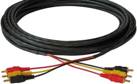 25 ft. Triple RCA Male to Male Plenum Cable (with Left & Right Audio)