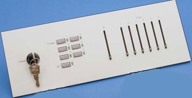 Litescape House Light System Wall Panel: 6 Preset Buttons, 6 Zone Faders, Master Fader, Lockout Station & Off