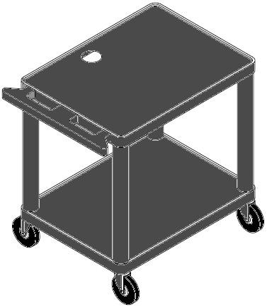 "PixMate® Plastic Cart with 18""x24"" Shelf"