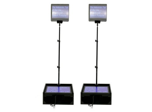 """Dual 15"""" LCD Teleprompters (for Public Speakers, with Dist. Amp)"""