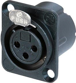 3-Pin DLX Series Female XLR Receptacle (Solder Cups, Black Metal Housing, Gold Contacts)