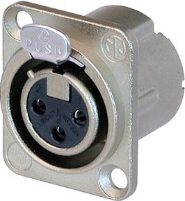 3-Pin DLX Series Female XLR Receptacle 9Crimp Termination, Nickle Housing, Silver Contacts)
