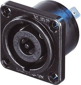 "STX Series 8-Pin Male Speakon Chassis Connector (Black Chrome Metal Housing, 1/4"" Flat Tabs)"