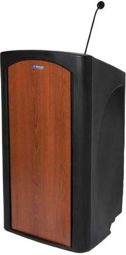 Pinnacle Multimedia Lectern with Gooseneck Microphone, Timer, XLR Output, and 2 AC Outlets