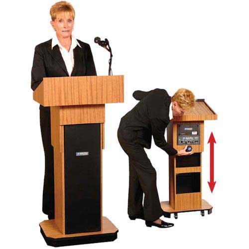 "Lectern with Speakers, Adjustable Height 39""-45"""