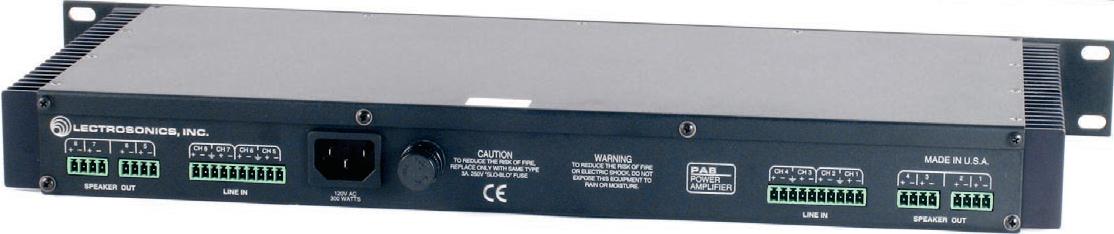 8-Channel Power Amplifier (10W/CH @ 4 Ohms, 6W/CH @ 8 Ohms, Bridgeable)