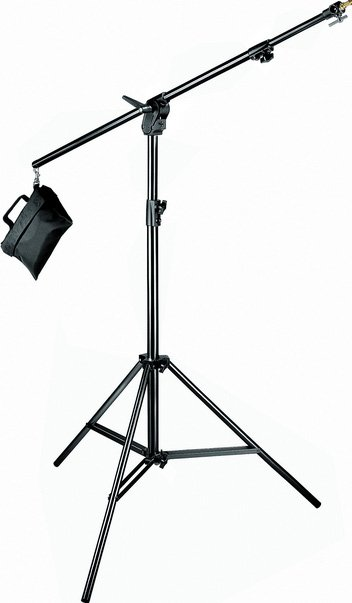 Combination 3-Section Boom Stand in Black with Sandbag