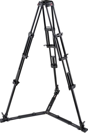 2-Stage Pro Aluminum Video Tripod (Braced Legs, Floor-Level Spreader, No Center Column, 100/75mm Bowl)