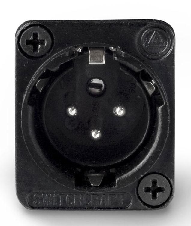 Connector XLR-M 3p Square, Black/Silver
