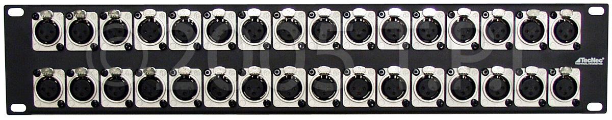2U Rack Panel with 32 NC3FD-L-1