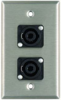 Plateworks Single Gang Stainless Steel Wall Plate with 2x NL4MP Speakon Connectors