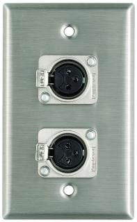 Plateworks Single-Gang Stainless Steel Wall Plate with 2x XLR-F Connectors