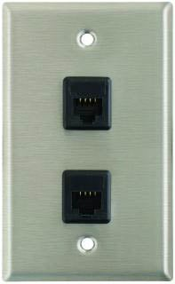 Plateworks Single-Gang Stainless Steel Wall Plate with 2x RJ45 Jacks
