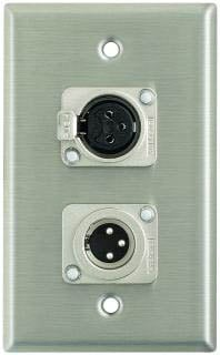 Plateworks Single-Gang Stainless Steel Wall Plate with 1x XLR-F, 1x XLR-M Connector