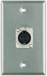 Plateworks Single-Gang Stainless Steel Wall Plate with 1x XLR-F Connector