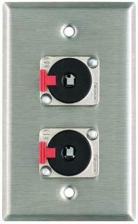 """Pro Co WP1007 Plateworks Single-Gang Stainless Steel Wall Plate with 2x Latching 1/4"""" TRS Jacks WP1007"""