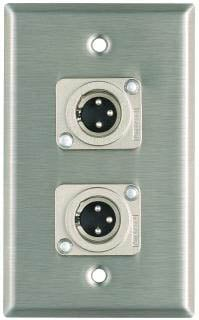 Plateworks Single-Gang Stainless Steel Wall Plate with 2x XLR-M Jacks