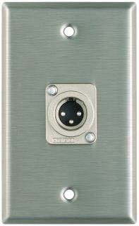 Plateworks Single-Gang Stainless Steel Wall Plate with 1x XLR-M Connector