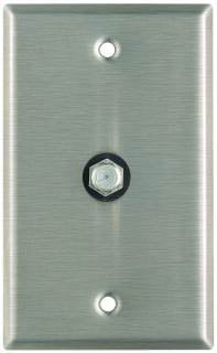 Plateworks Single-Gang Stainless Steel Wall Plate with 1x Coaxial Feed Thru Connector