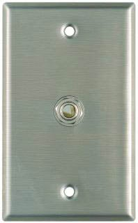 "Plateworks Single-Gang Stainless Steel Wall Plate with 1x 3-Conductor Open 1/4"" TRS Jack"
