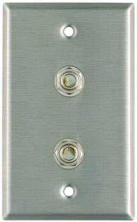 "Plateworks Single-Gang Wall Plate with 2x 3-Conductor Open 1/4"" TRS Jacks"