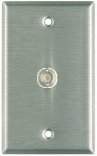 Plateworks Single-Gang Stainless Steel Wall Plate with 1x BNC Feed Thru Conector